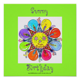 Sunny Birthday - Poster (lime green)