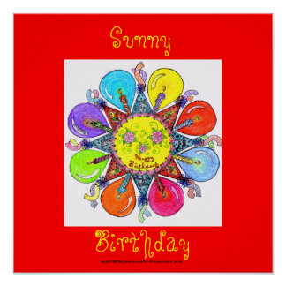 Sunny Birthday - Poster (red)