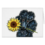 Sunny Black Miniature Poodle Yellow Inside Stationery Note Card