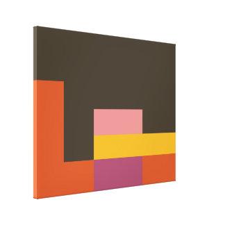 Sunny Blocks Wrapped Canvas Art - Brown & Orange Canvas Print