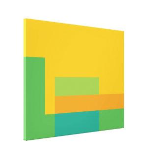 Sunny Blocks Wrapped Canvas Art - Green & Yellow Canvas Print