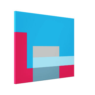 Sunny Blocks Wrapped Canvas Art - Red & Blue Canvas Print