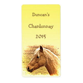 Sunny Blonde and Brown Horse Animal Wine Label