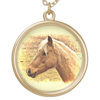 Sunny Blonde Brown Horse Animal Necklace