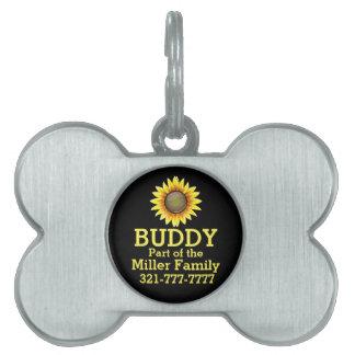 Sunny Bright Sunflower Pet ID Tag