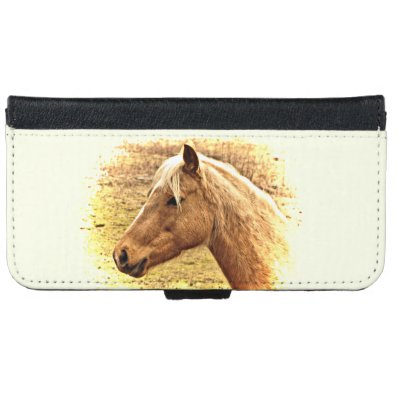 Sunny Brown Gold Horse Animal iPhone 6 Wallet Case