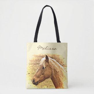 Sunny Brown Gold Horse Animal Tote Bag