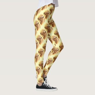 Sunny Brown Horse Animal Abstract Pattern Leggings