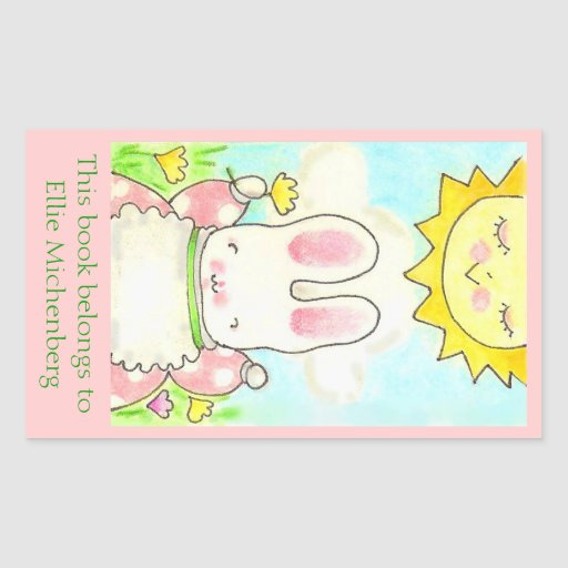 Sunny bunny bookplate rectangular sticker