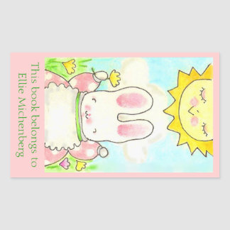 Sunny bunny bookplate rectangular stickers