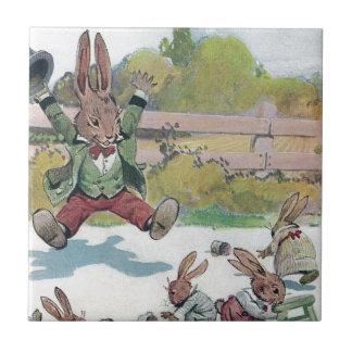 Sunny Bunny Shouts GO Small Square Tile