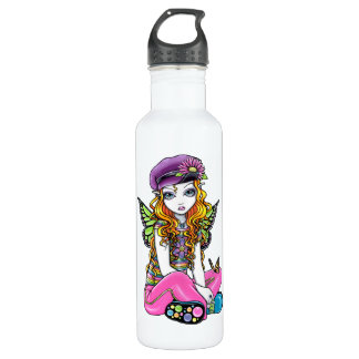 Sunny Butterfly Rainbow Fairy Art Water Bottle