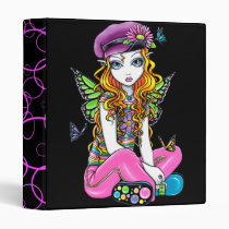 rainbow, candy, fairy, binder, notebook, sunny, myka, jelina, faerie, fae, fairies, faery, pixie, butterfly, flower, fantasy, art, butterflies and moths, Binder with custom graphic design