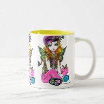 rainbow, sunny, blonde, flowers, butterfly, gothic, cute, emo, adorable, purple, pink, lime, fantasy, art, myka, jelina, big, eyed, characters, Mug with custom graphic design