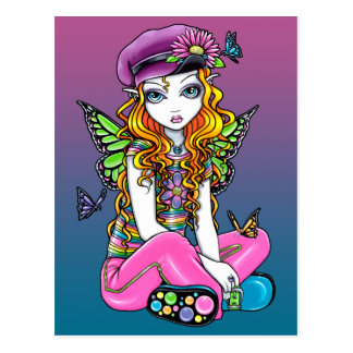 """Sunny"" Candied Butterfly Rainbow Fairy Postcard"