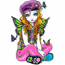 rainbow, sunny, blonde, flowers, butterfly, gothic, cute, emo, adorable, purple, pink, lime, fantasy, art, myka, jelina, big, eyed, acrylic, Photo Sculpture with custom graphic design
