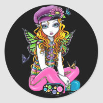 rainbow, sunny, blonde, flowers, butterfly, gothic, cute, emo, adorable, purple, pink, lime, fantasy, art, myka, jelina, big, eyed, characters, Sticker with custom graphic design
