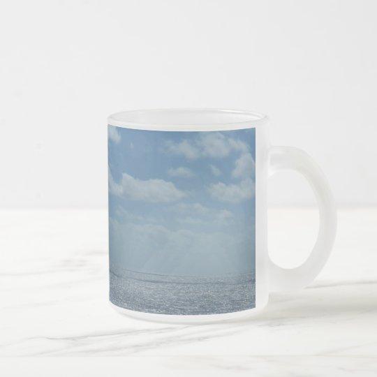 Sunny Caribbean Sea Blue Ocean Frosted Glass Coffee Mug