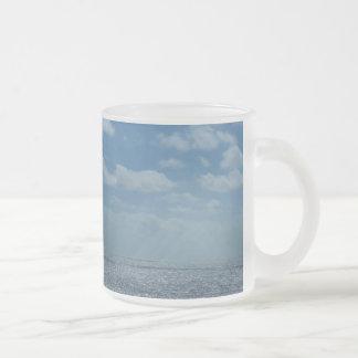 Sunny Caribbean Sea Blue Ocean 10 Oz Frosted Glass Coffee Mug