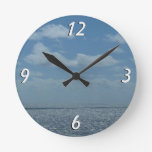 Sunny Caribbean Sea Blue Ocean Round Clock