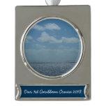 Sunny Caribbean Sea Blue Ocean Silver Plated Banner Ornament