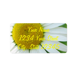 Sunny Center Yellow and White Daisy Label