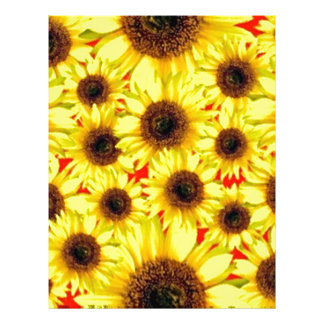 Sunny Cheerful Sunflower Macro Floral Collage Letterhead Template
