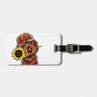 Sunny Chocolate Labradoodle Off-Leash Art™ Luggage Tag