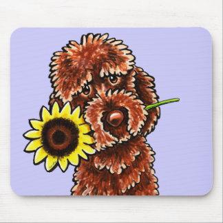 Sunny Chocolate Labradoodle Off-Leash Art™ Mouse Pad