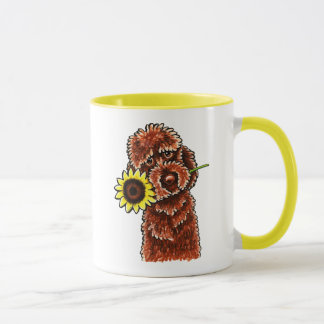 Sunny Chocolate Labradoodle Off-Leash Art™ Mug