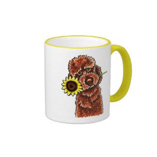 Sunny Chocolate Labradoodle Off-Leash Art™ Ringer Coffee Mug