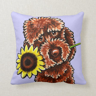 Sunny Chocolate Labradoodle Off-Leash Art™ Throw Pillow