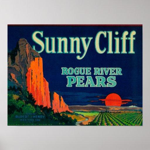 Sunny Cliff Pear Crate LabelMedford, OR Poster