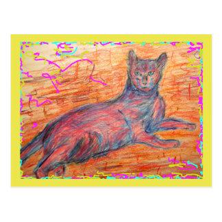 sunny cobblestone cat chill out postcard