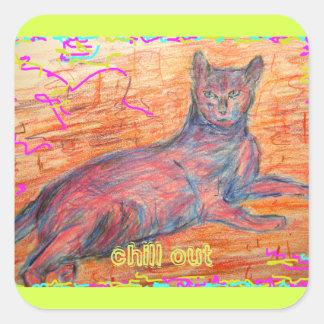 sunny cobblestone cat chill out square sticker