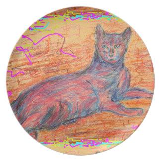 sunny cobblestone cat melamine plate