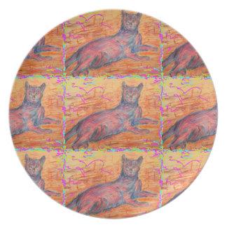 sunny cobblestone cat plate