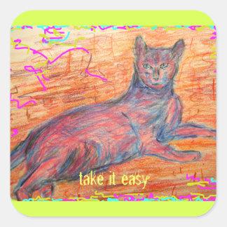 sunny cobblestone cat take it easy square sticker