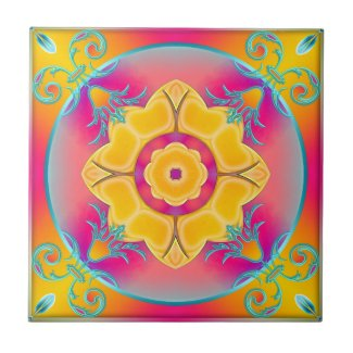 Sunny Colorful Floral Kitchen or Bathroom Tile