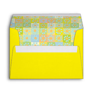 Sunny Colorful Floral Squares Envelope