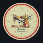"""Sunny Crazy Quilt Sewing Room Wall Clock<br><div class=""""desc"""">This unique sewing themed wall clock is printed with a vintage sewing machine image pieced and stitched with bright faux fabric scraps in yellows,  golds,  orange hues. Personalize the text in the easy Zazzle editor for your favorite sewing or quilting enthusiast.</div>"""