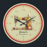 "Sunny Crazy Quilt Sewing Room Wall Clock<br><div class=""desc"">This unique sewing themed wall clock is printed with a vintage sewing machine image pieced and stitched with bright faux fabric scraps in yellows,  golds,  orange hues. Personalize the text in the easy Zazzle editor for your favorite sewing or quilting enthusiast.</div>"
