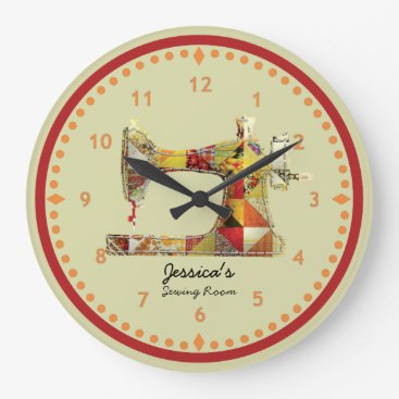 ClockORama Sunny Crazy Quilt Sewing Room Wall Clock