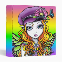 sunny, rainbow, butterfly, butterflies, flowers, candy, art, fairy, faery, faerie, fae, pixie, fantasy, myka, jelina, characters, Binder with custom graphic design