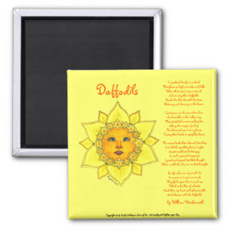 """Sunny Daffodil - 2"""" square magnet (yellow) #1"""