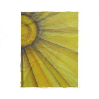Sunny Daisy Art Throw Fleece Blanket