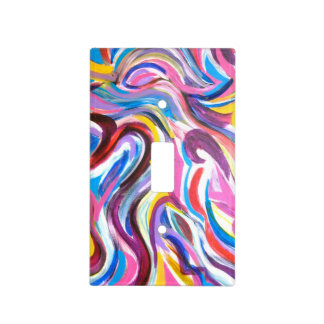 Hand Painted Light Switch Plates: Sunny Day - Abstract Art Hand Painted Light Switch Cover,Lighting