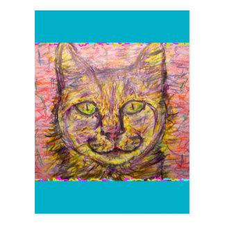 sunny day cat rock & roll postcard