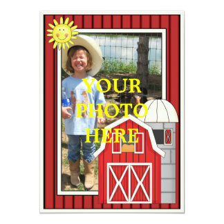 Sunny Day Red Barn - Kids' Party or Baby Shower 5x7 Paper Invitation Card