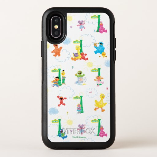 Sunny Day Sesame Street Pattern OtterBox Symmetry iPhone X Case